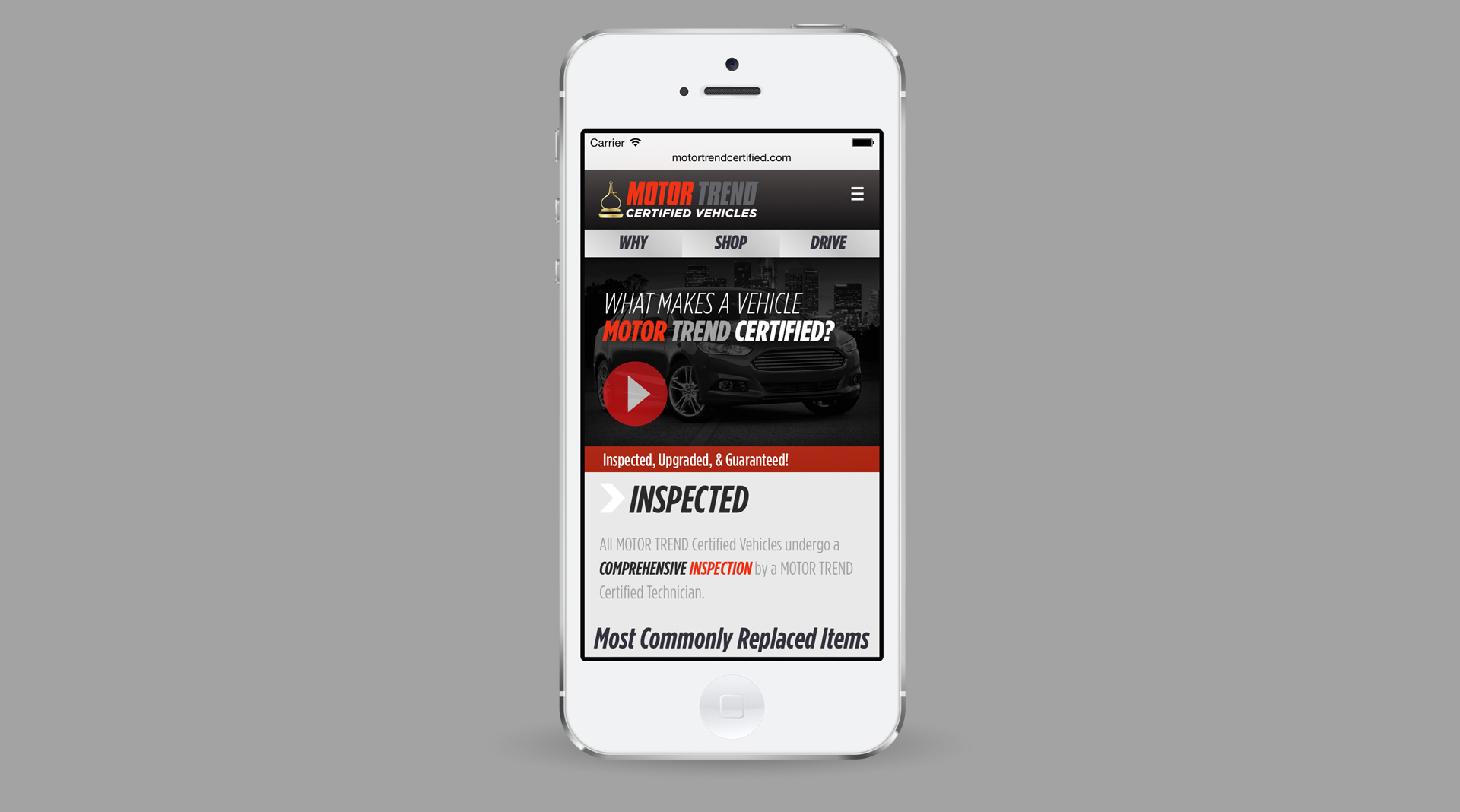MOTOR TREND Certified homepage on iPhone